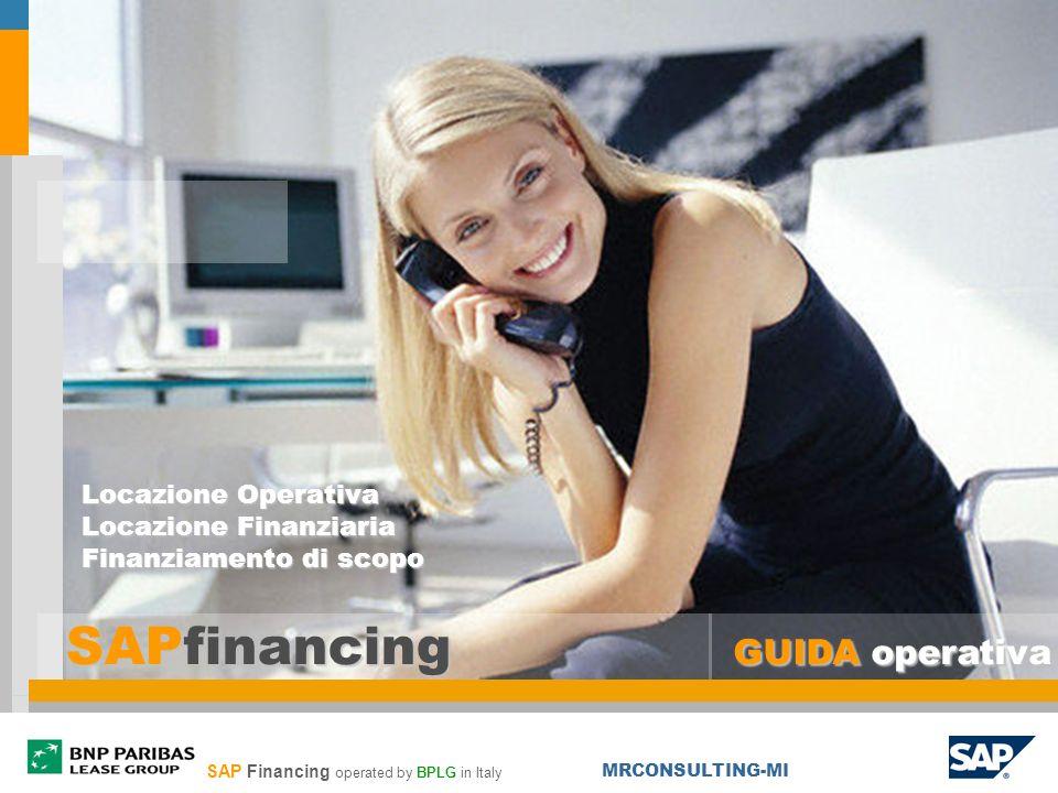 SAPfinancing GUIDA operativa Locazione Operativa Locazione Finanziaria