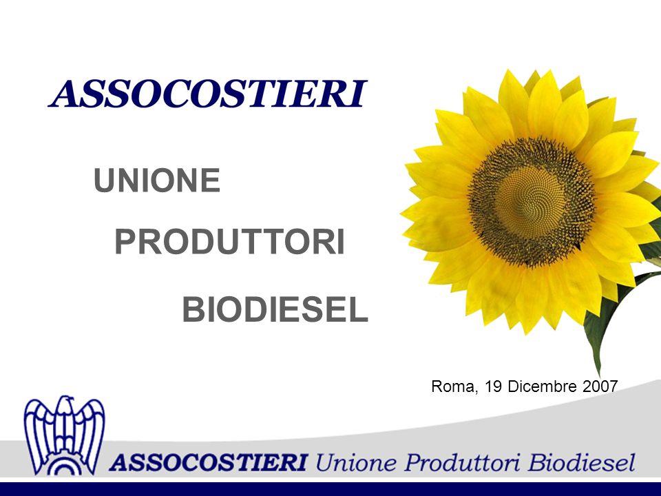 UNIONE PRODUTTORI BIODIESEL Roma, 19 Dicembre 2007