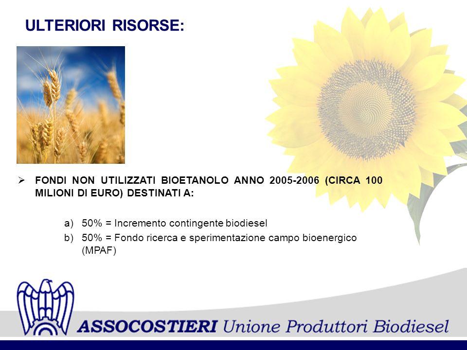 ULTERIORI RISORSE: FONDI NON UTILIZZATI BIOETANOLO ANNO 2005-2006 (CIRCA 100 MILIONI DI EURO) DESTINATI A: