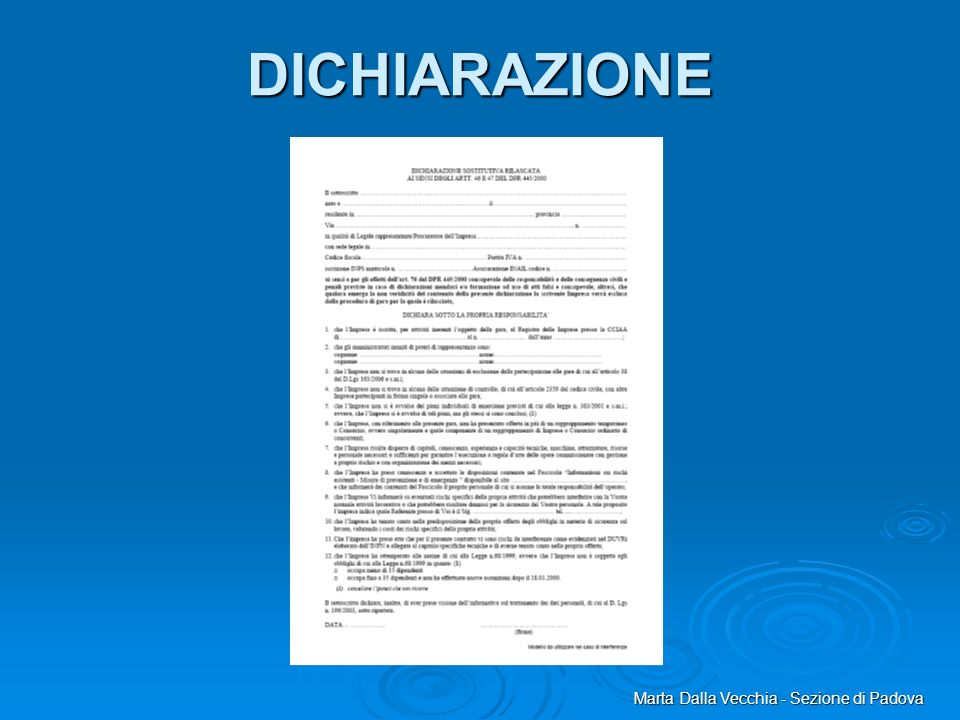 DICHIARAZIONE Marta Dalla Vecchia - Sezione di Padova