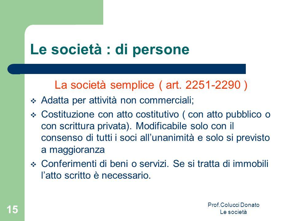 Le società : di persone La società semplice ( art. 2251-2290 )
