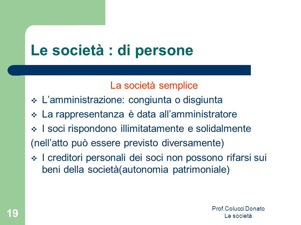 Prof.Colucci Donato Le società