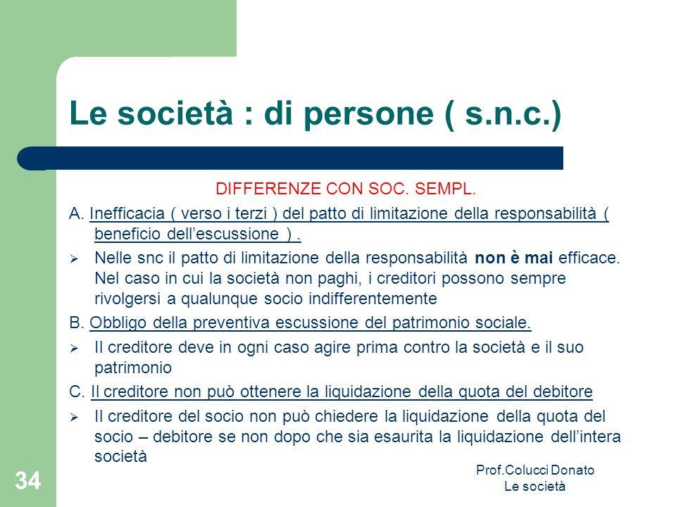 Le società : di persone ( s.n.c.)