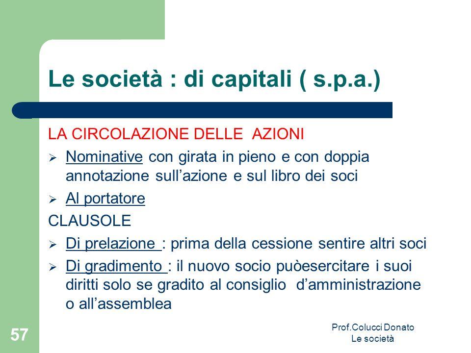 Le società : di capitali ( s.p.a.)