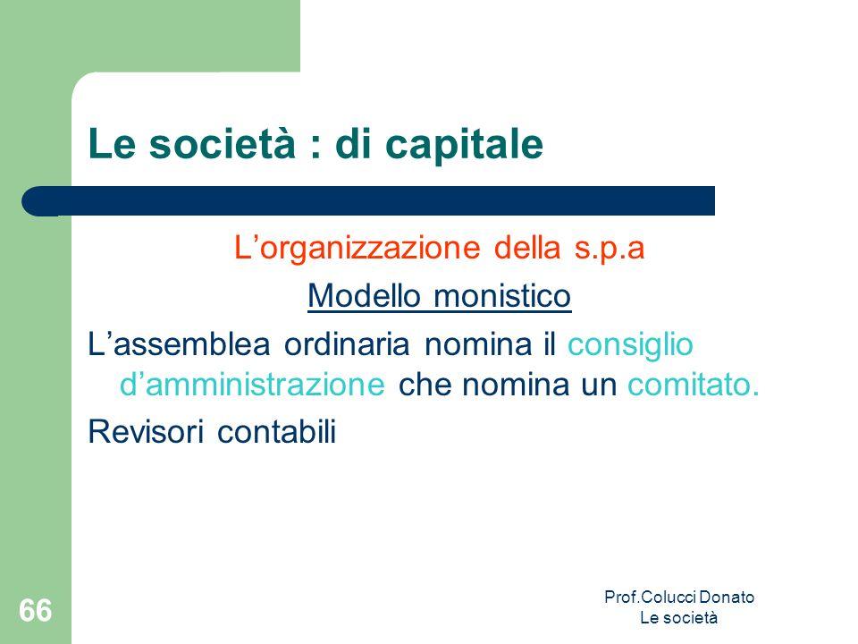 Le società : di capitale