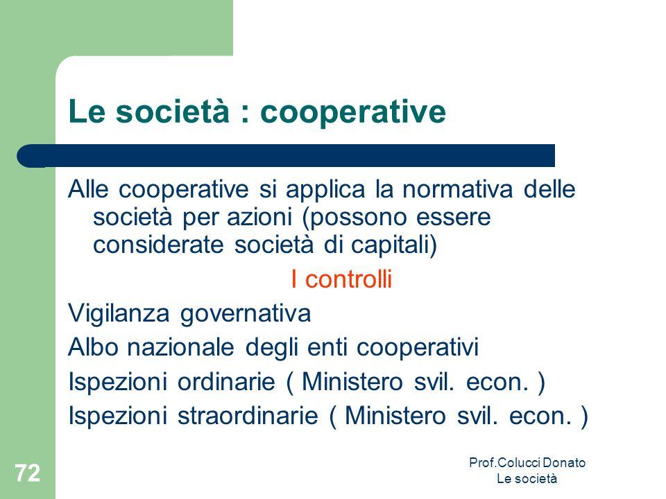 Le società : cooperative