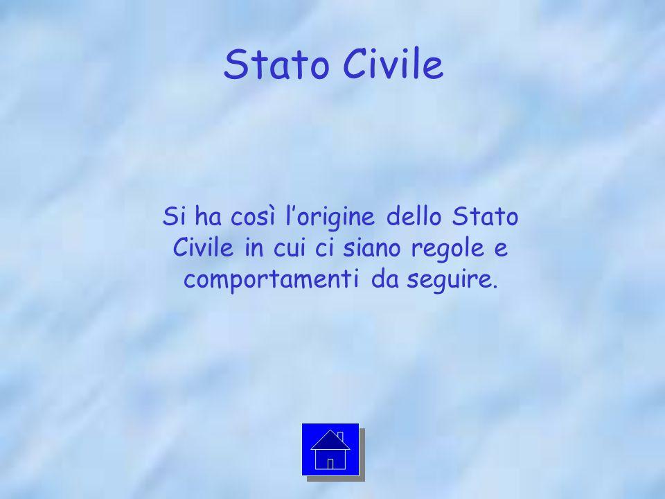 Stato Civile Si ha così l'origine dello Stato Civile in cui ci siano regole e comportamenti da seguire.