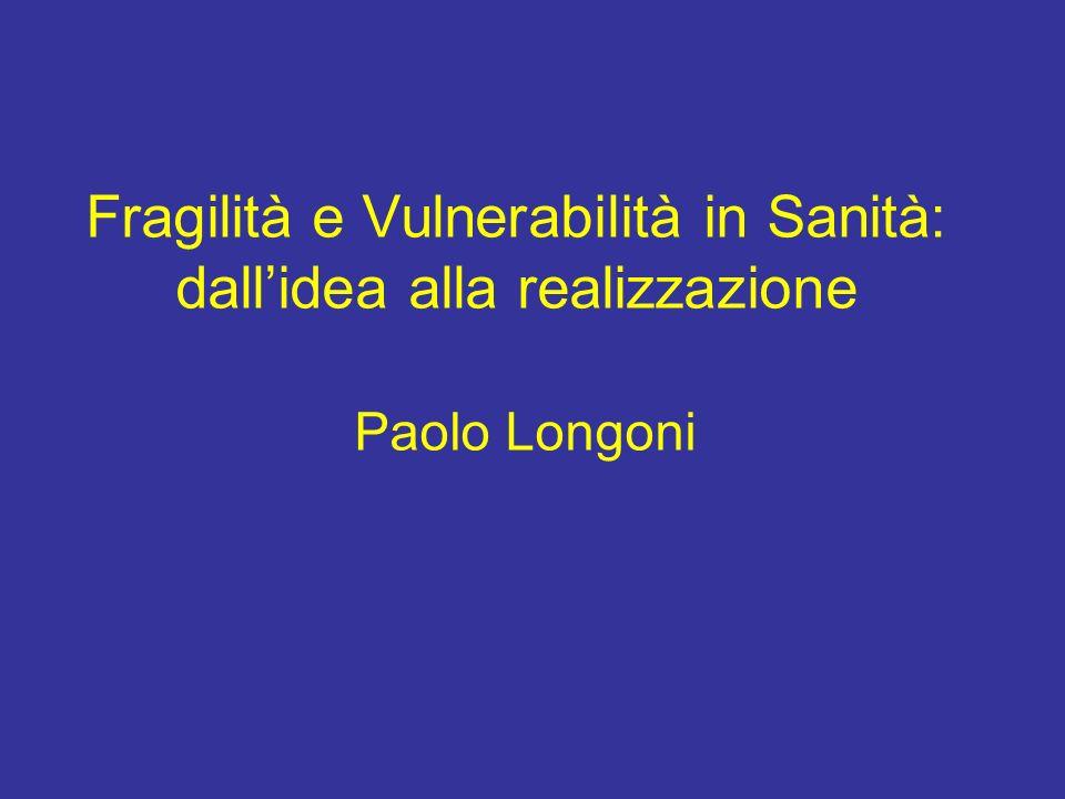 Fragilità e Vulnerabilità in Sanità: dall'idea alla realizzazione Paolo Longoni