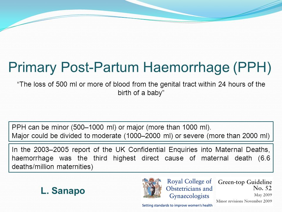 Primary Post-Partum Haemorrhage (PPH)
