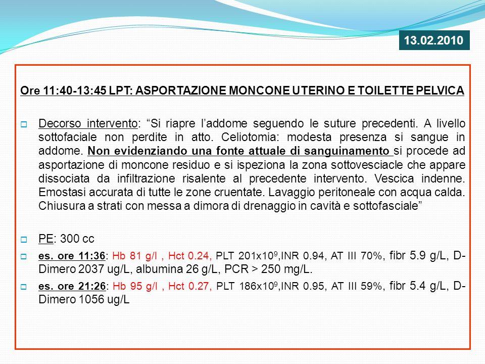 13.02.2010 Ore 11:40-13:45 LPT: ASPORTAZIONE MONCONE UTERINO E TOILETTE PELVICA.