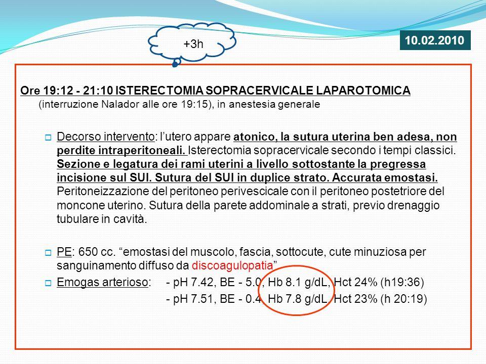 10.02.2010 +3h. Ore 19:12 - 21:10 ISTERECTOMIA SOPRACERVICALE LAPAROTOMICA (interruzione Nalador alle ore 19:15), in anestesia generale.