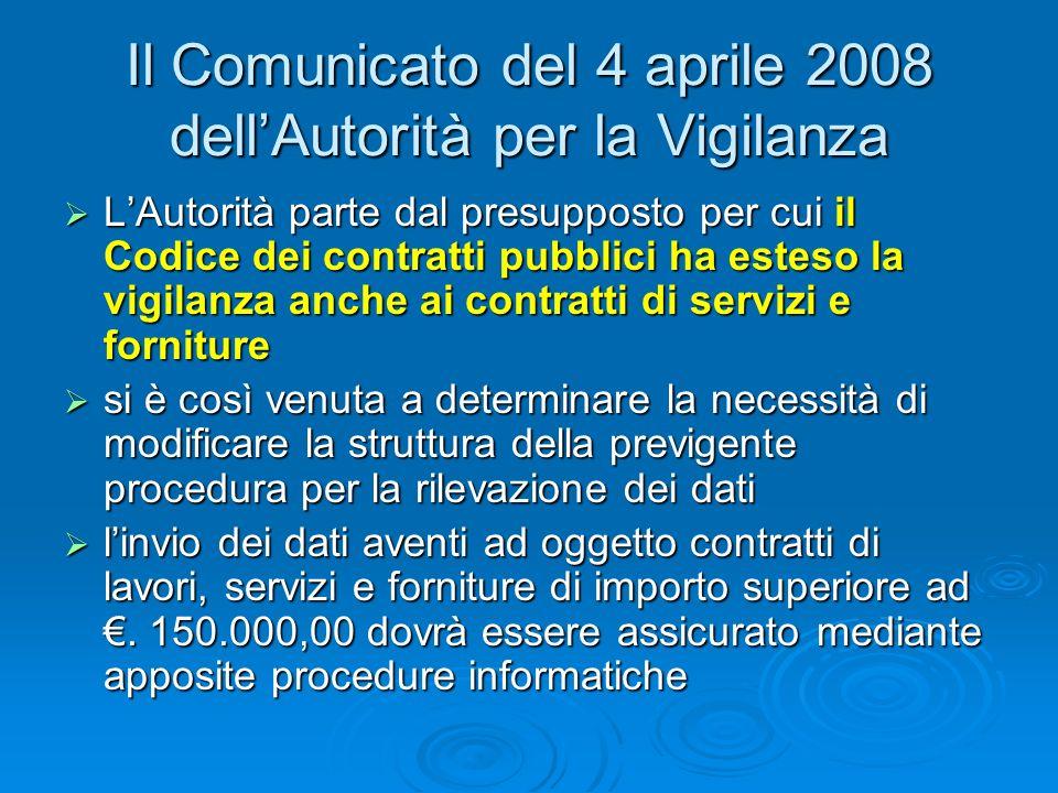 Il Comunicato del 4 aprile 2008 dell'Autorità per la Vigilanza