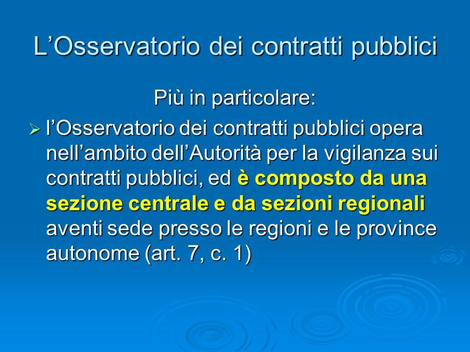 L'Osservatorio dei contratti pubblici