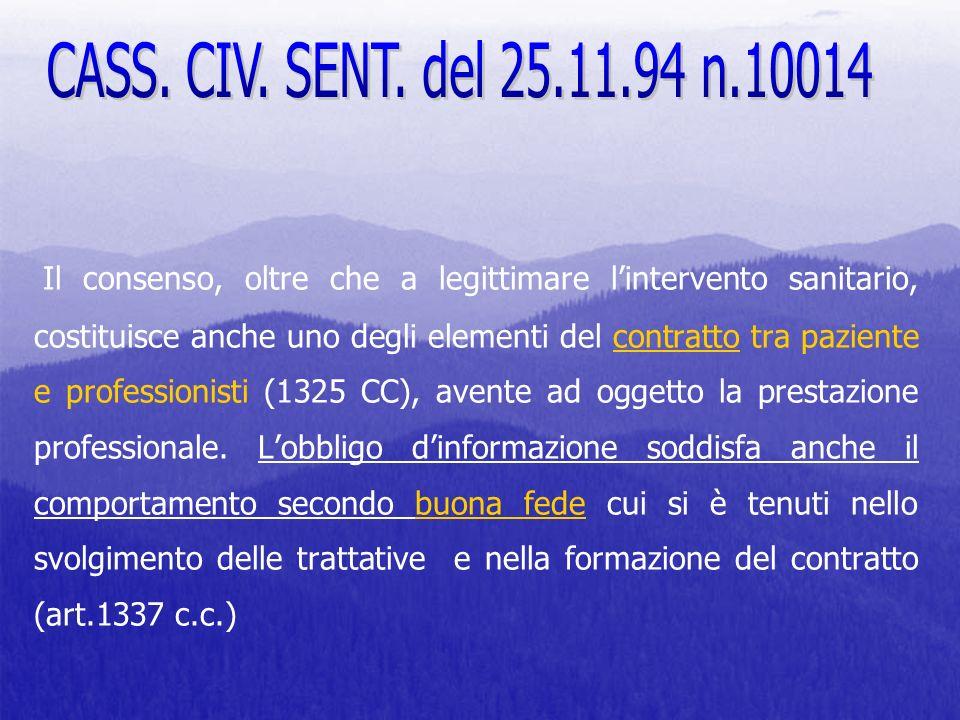 CASS. CIV. SENT. del 25.11.94 n.10014