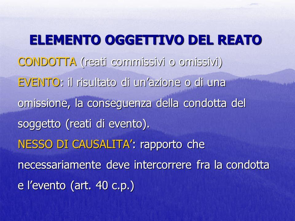 ELEMENTO OGGETTIVO DEL REATO CONDOTTA (reati commissivi o omissivi) EVENTO: il risultato di un'azione o di una omissione, la conseguenza della condotta del soggetto (reati di evento).