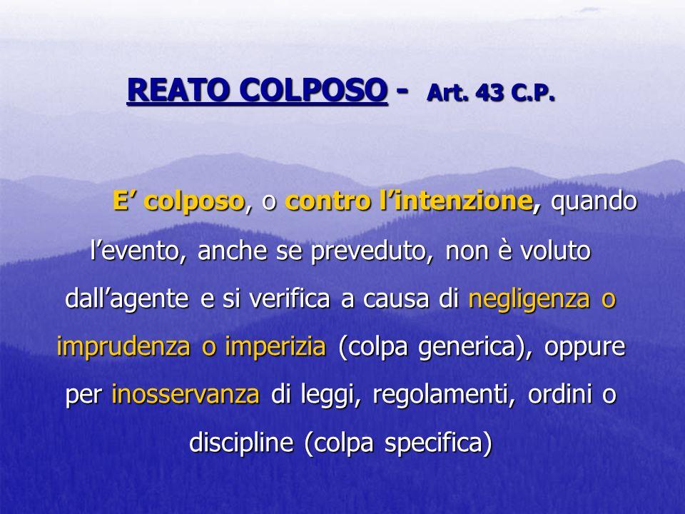REATO COLPOSO - Art. 43 C.P.