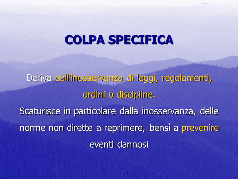 COLPA SPECIFICA Deriva dall'inosservanza di leggi, regolamenti, ordini o discipline.