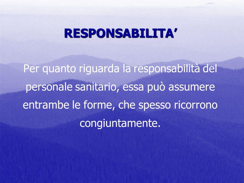 RESPONSABILITA' Per quanto riguarda la responsabilità del personale sanitario, essa può assumere entrambe le forme, che spesso ricorrono congiuntamente.
