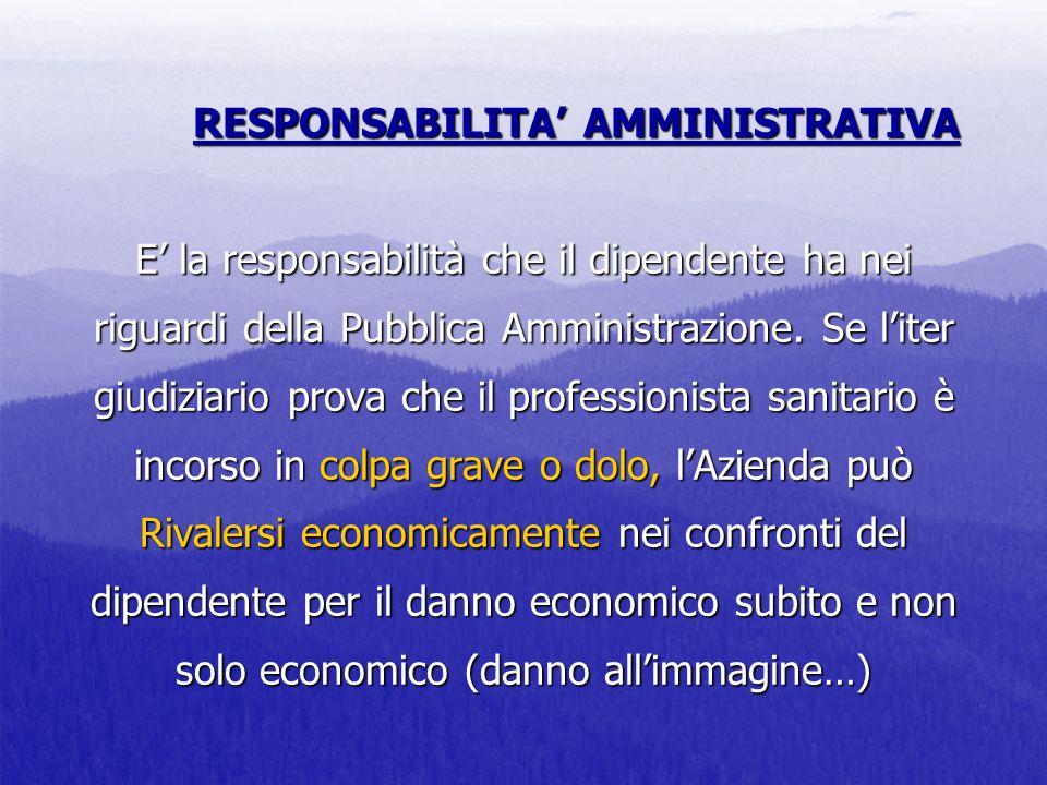 RESPONSABILITA' AMMINISTRATIVA E' la responsabilità che il dipendente ha nei riguardi della Pubblica Amministrazione.