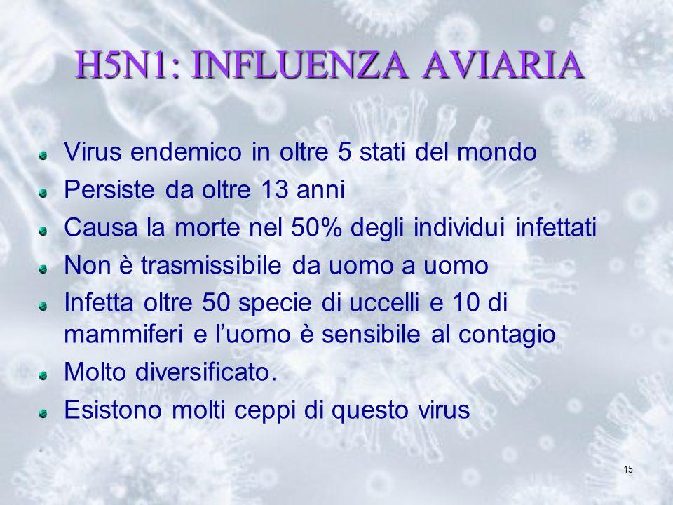 H5N1: INFLUENZA AVIARIA Virus endemico in oltre 5 stati del mondo