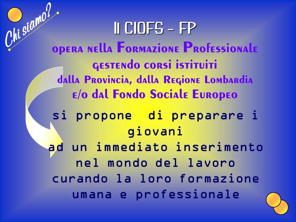 Chi siamo Il CIOFS - FP opera nella Formazione Professionale