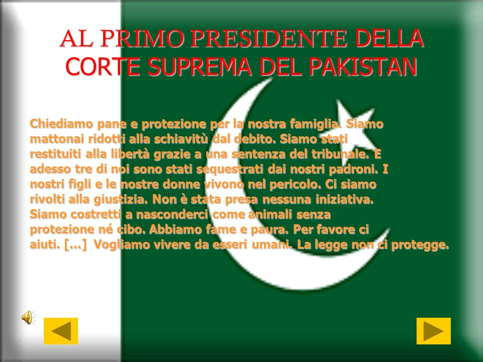 AL PRIMO PRESIDENTE DELLA CORTE SUPREMA DEL PAKISTAN