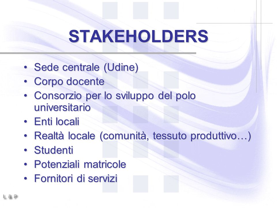 STAKEHOLDERS Sede centrale (Udine) Corpo docente