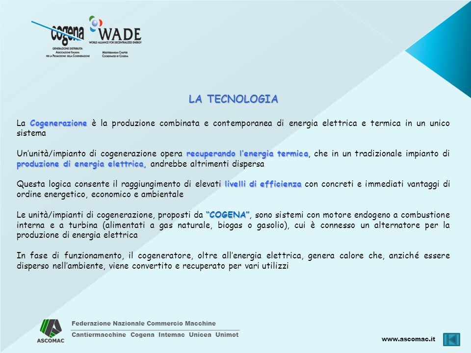 LA TECNOLOGIA La Cogenerazione è la produzione combinata e contemporanea di energia elettrica e termica in un unico sistema.