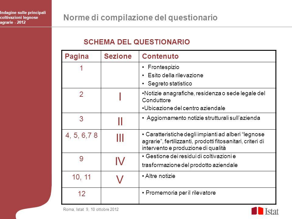 I II III IV V Norme di compilazione del questionario