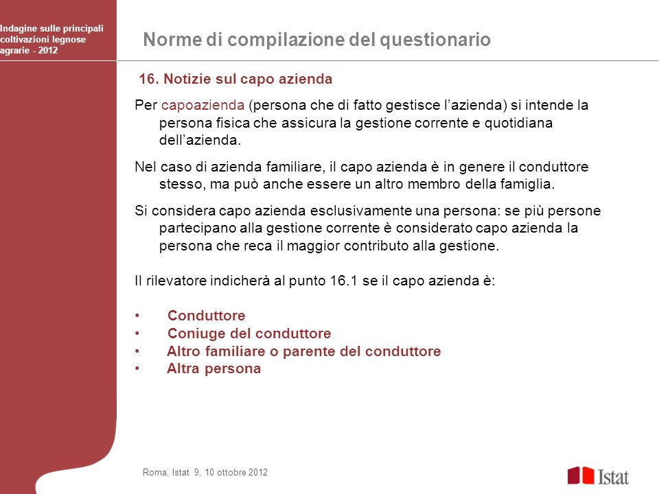 Norme di compilazione del questionario