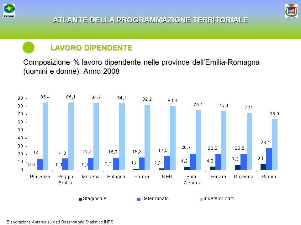 LAVORO DIPENDENTE Composizione % lavoro dipendente nelle province dell'Emilia-Romagna (uomini e donne). Anno 2008.