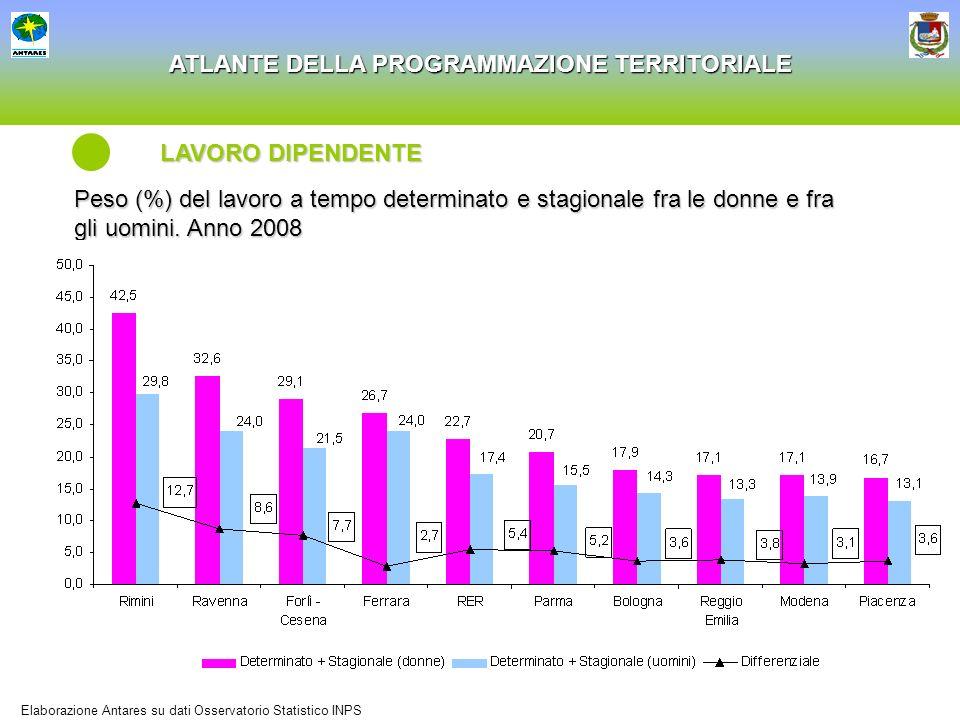 LAVORO DIPENDENTE Peso (%) del lavoro a tempo determinato e stagionale fra le donne e fra gli uomini. Anno 2008.