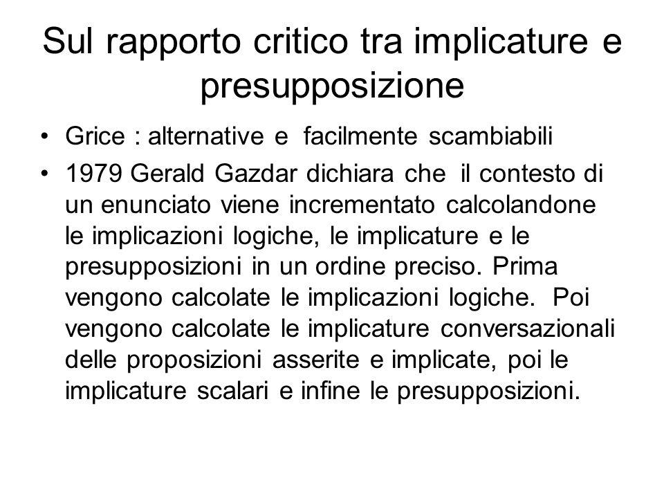 Sul rapporto critico tra implicature e presupposizione