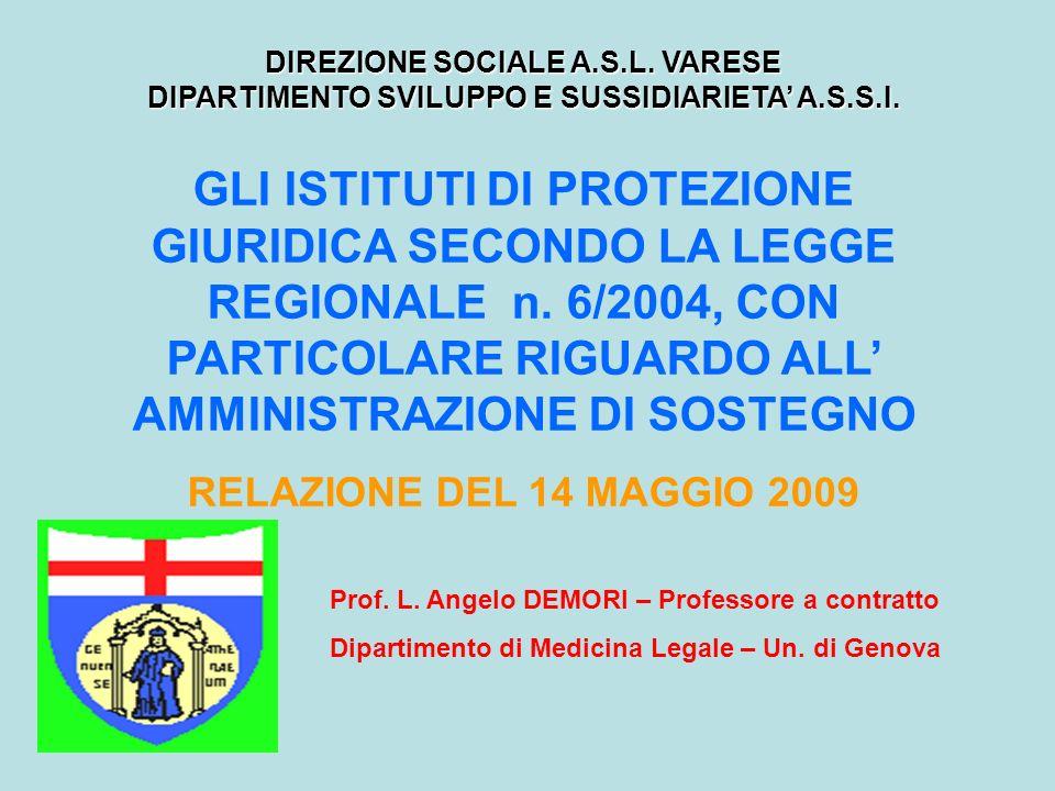 DIREZIONE SOCIALE A.S.L. VARESE DIPARTIMENTO SVILUPPO E SUSSIDIARIETA' A.S.S.I.