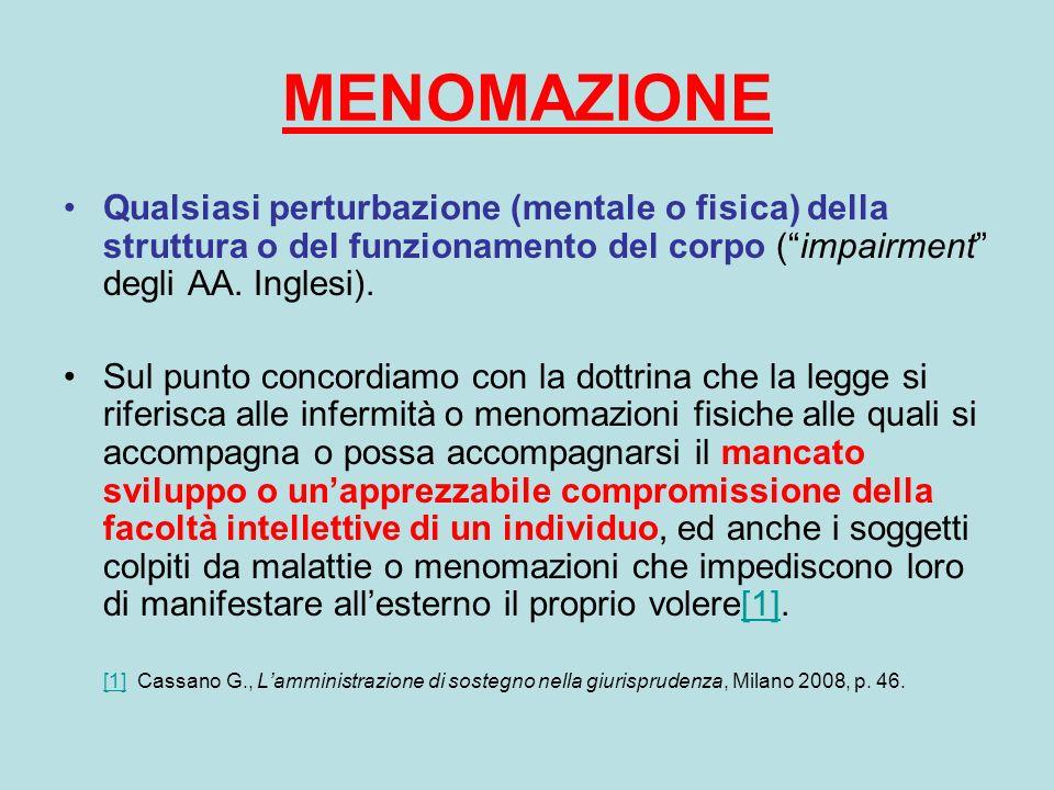 MENOMAZIONE Qualsiasi perturbazione (mentale o fisica) della struttura o del funzionamento del corpo ( impairment degli AA. Inglesi).
