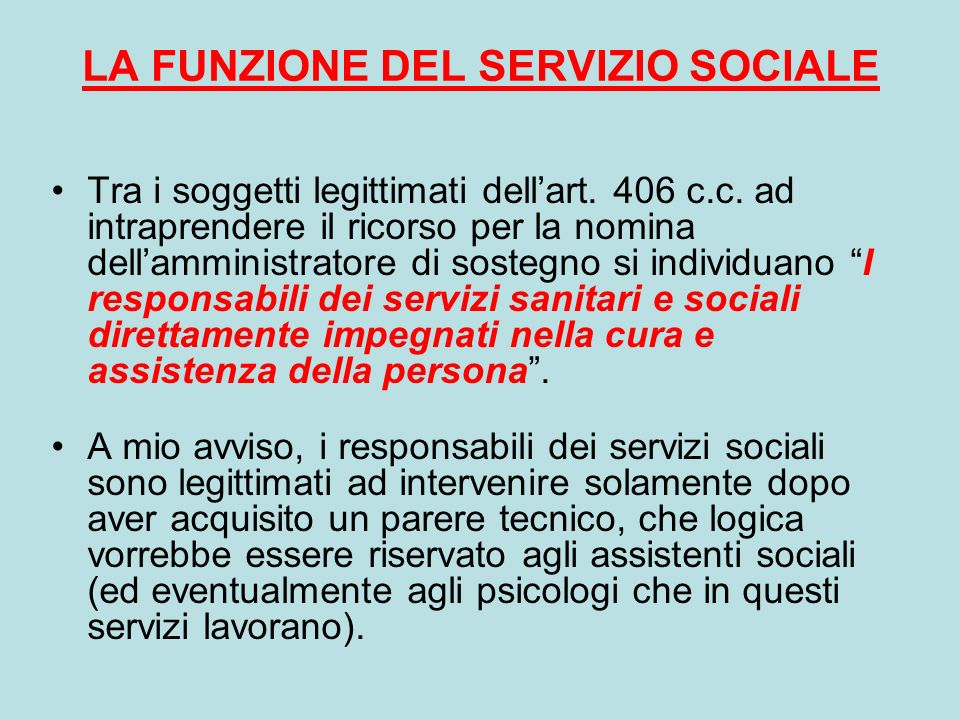 LA FUNZIONE DEL SERVIZIO SOCIALE