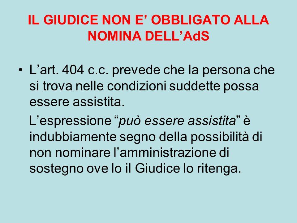 IL GIUDICE NON E' OBBLIGATO ALLA NOMINA DELL'AdS