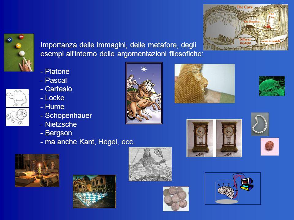 Importanza delle immagini, delle metafore, degli esempi all'interno delle argomentazioni filosofiche: