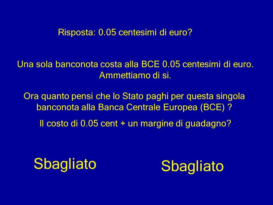 Sbagliato Sbagliato Risposta: 0.05 centesimi di euro