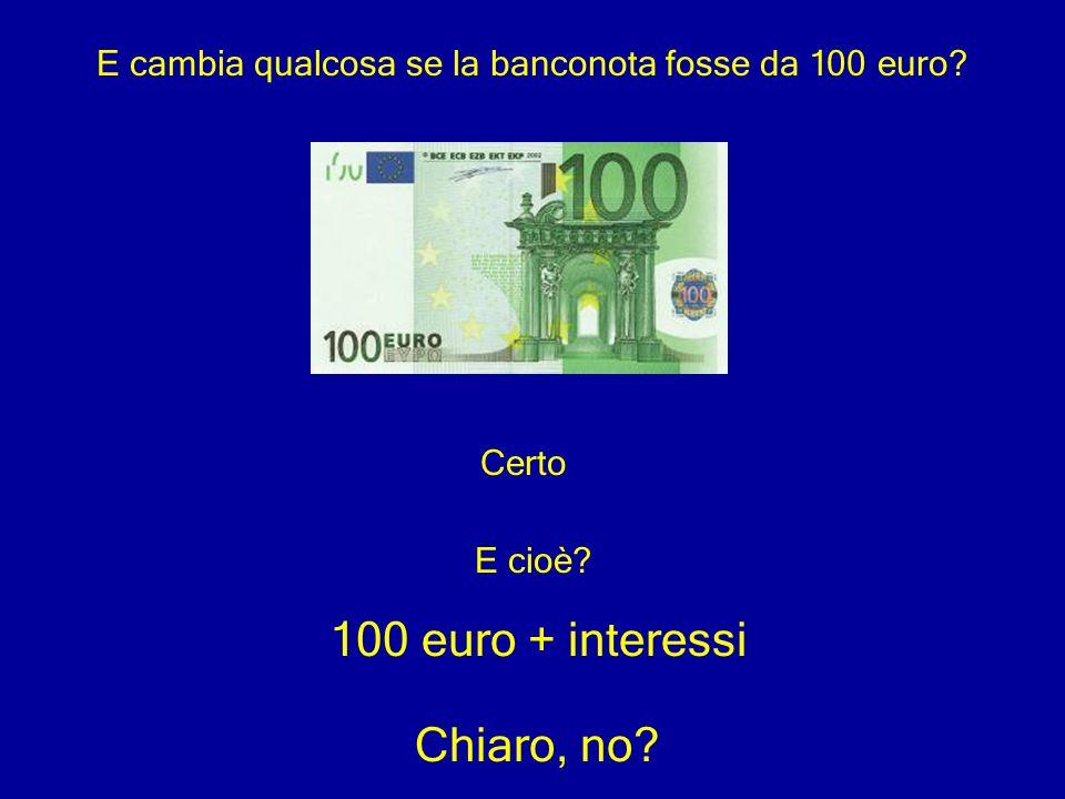E cambia qualcosa se la banconota fosse da 100 euro
