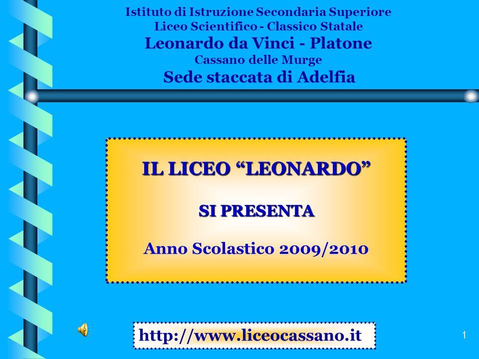 IL LICEO LEONARDO Leonardo da Vinci - Platone SI PRESENTA