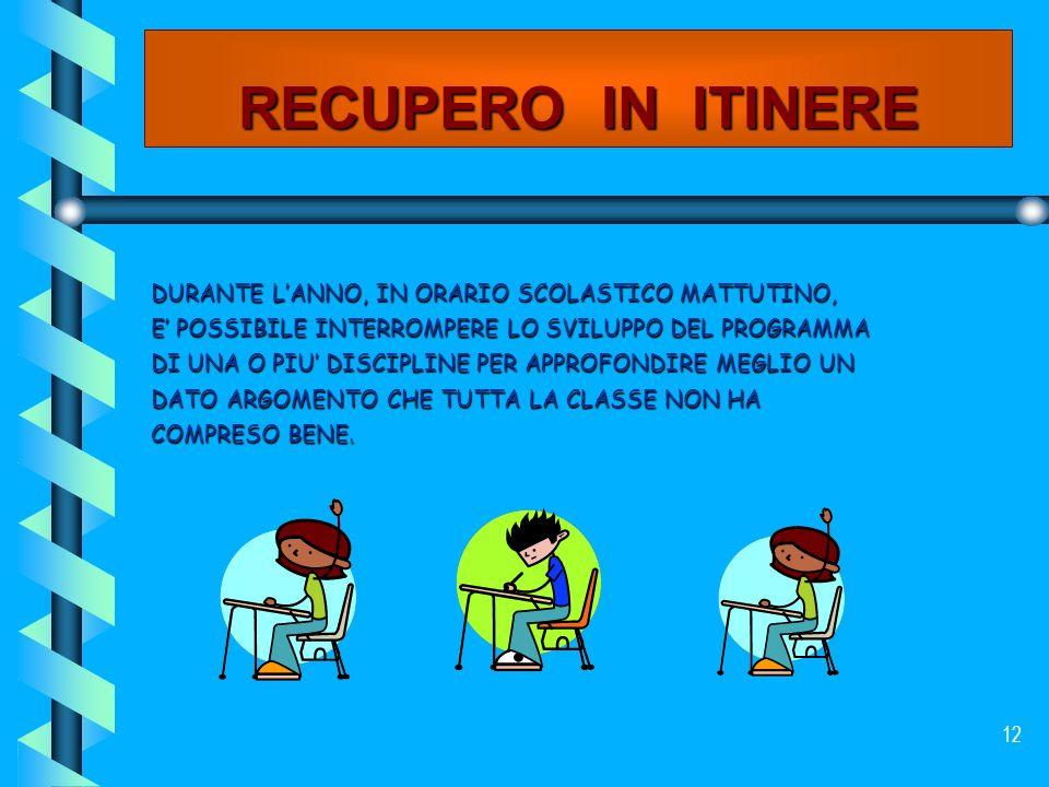 RECUPERO IN ITINERE DURANTE L'ANNO, IN ORARIO SCOLASTICO MATTUTINO,