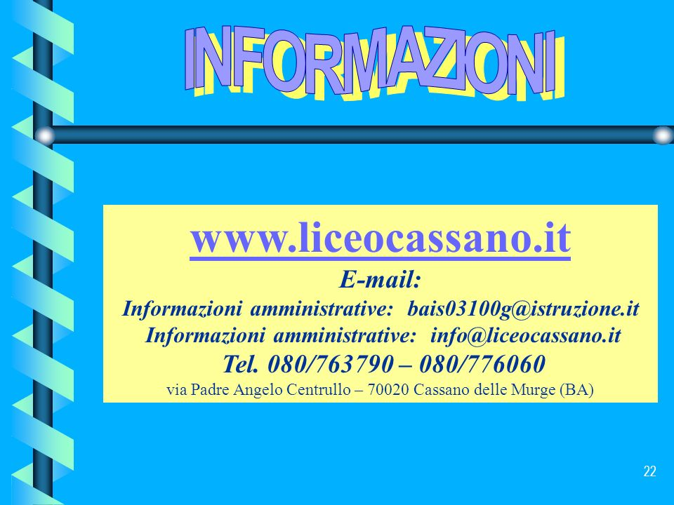 via Padre Angelo Centrullo – 70020 Cassano delle Murge (BA)