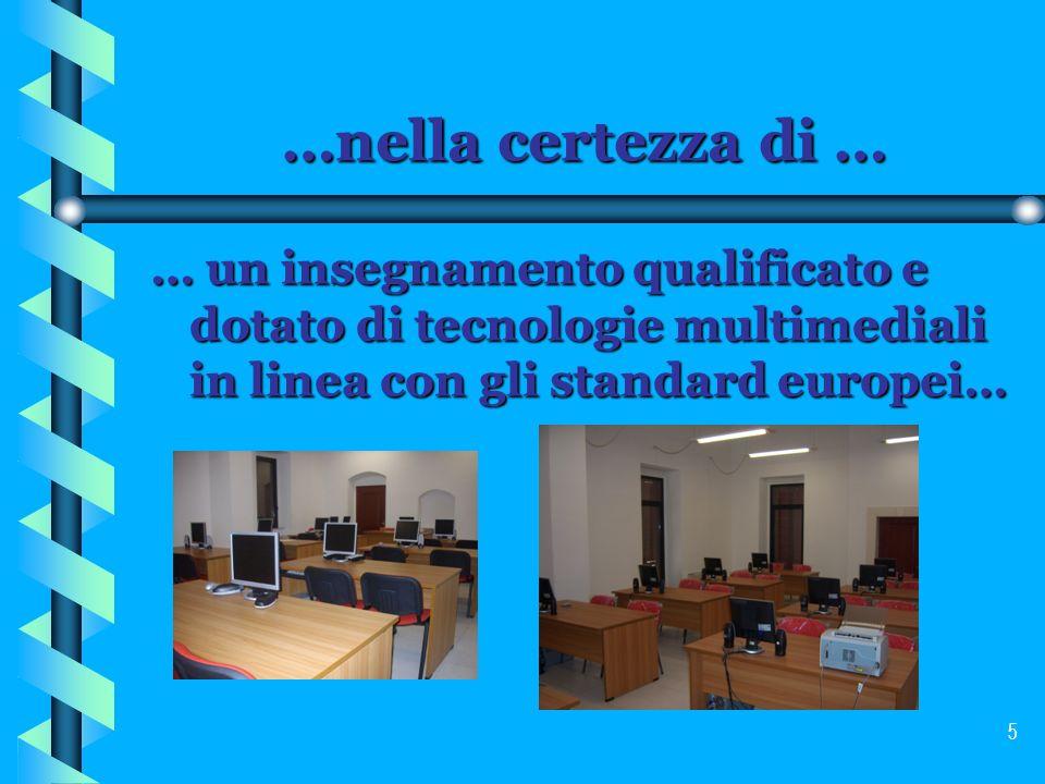 …nella certezza di … … un insegnamento qualificato e dotato di tecnologie multimediali in linea con gli standard europei…