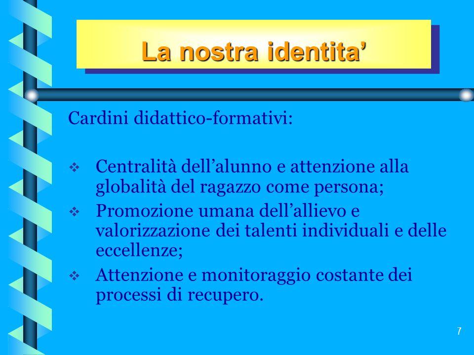 La nostra identita' Cardini didattico-formativi: