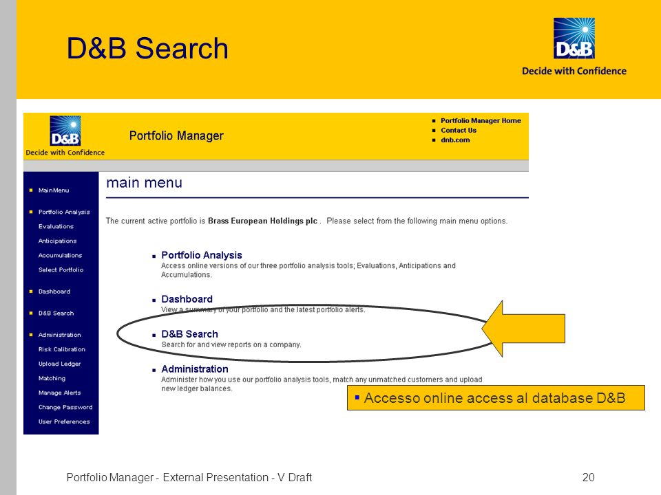 D&B Search Accesso online access al database D&B