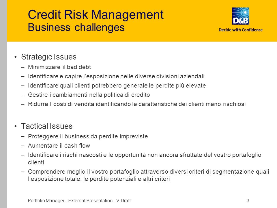 Credit Risk Management Business challenges