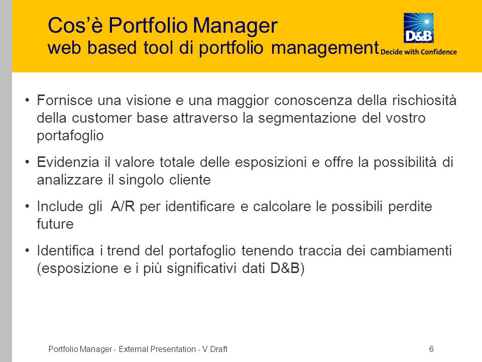 Cos'è Portfolio Manager web based tool di portfolio management