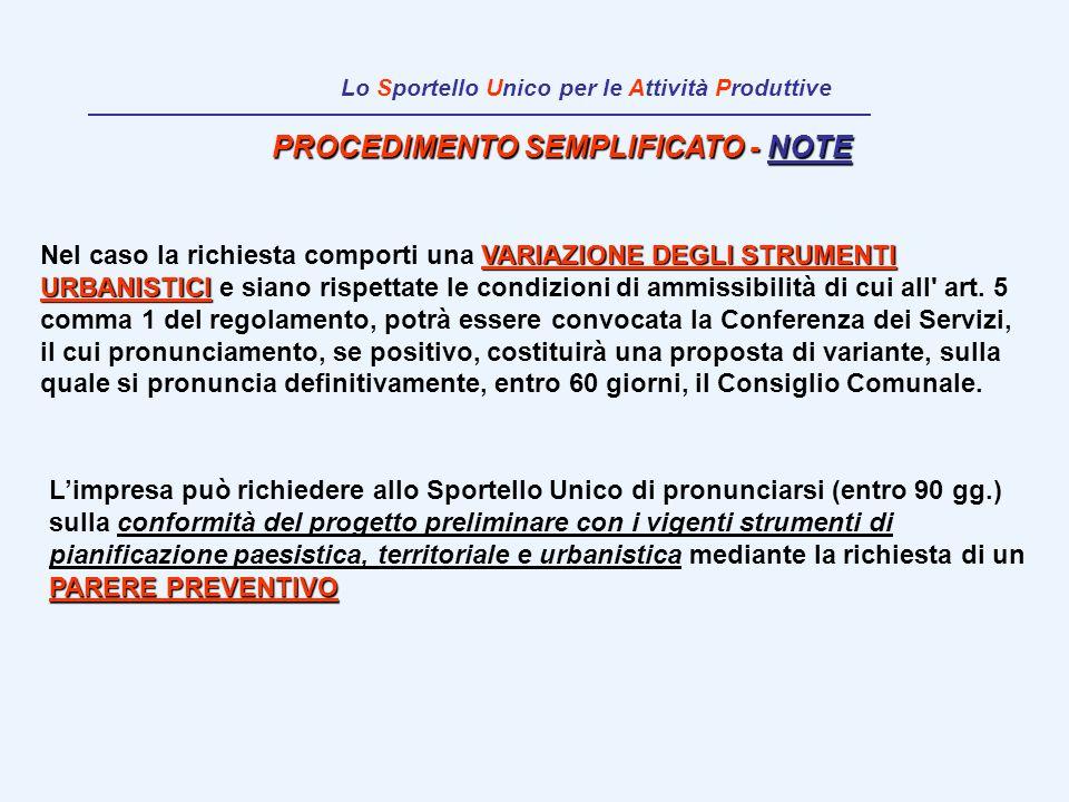 PROCEDIMENTO SEMPLIFICATO - NOTE