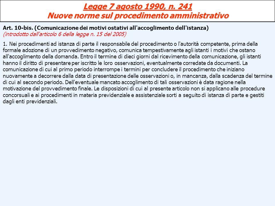 Legge 7 agosto 1990, n. 241 Nuove norme sul procedimento amministrativo